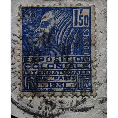 ZNÁMKA FRANCIE KOLONIE 1931 1 1/2 frankj MODRÁ