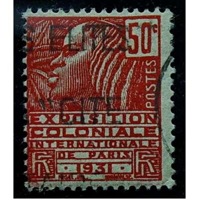ZNÁMKA FRANCIE KOLONIE 1931 50 cent ČERVENÁ