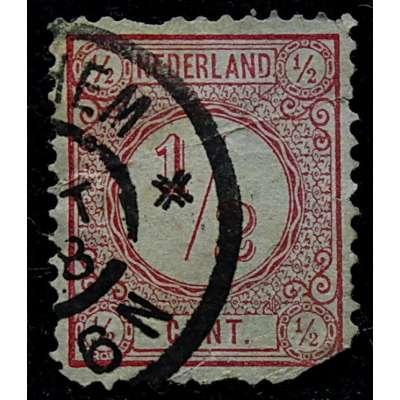 ZNÁMKA HOLANDSKO 1876 1/2 cent ČERVENÁ