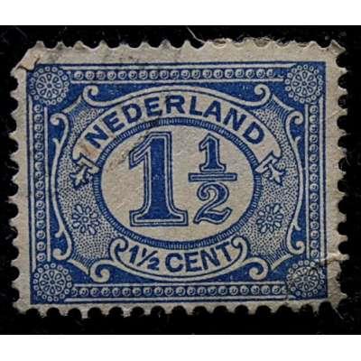 ZNÁMKA HOLANDSKO 1899-1935 1 1/2 cent MODRÁ