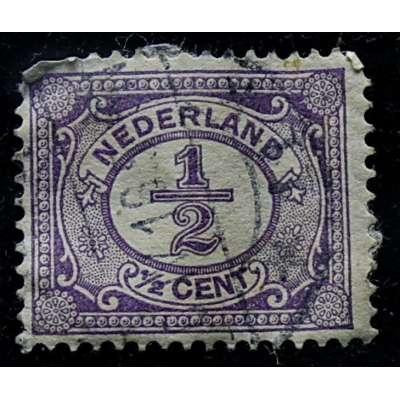 ZNÁMKA HOLANDSKO 1899-1935 1/2 cent FIALOVÁ