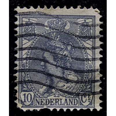 ZNÁMKA HOLANDSKO 1899-1935 10 cent ŠEDO-MODRÁ
