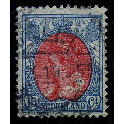 ZNÁMKA HOLANDSKO 1899-1935 15 cent ČERVENO-MODRÁ