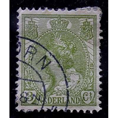 ZNÁMKA HOLANDSKO 1899-1935 3 cent ZELENÁ