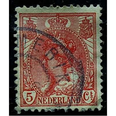 ZNÁMKA HOLANDSKO 1899-1935 5 cent ČERVENÁ