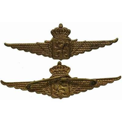 ODZNAK BELGIE 2.SV 600x22mm ČEPICOVÝ Belgian Royal Air Force Wings Cap Badge NCO ZLATÝ