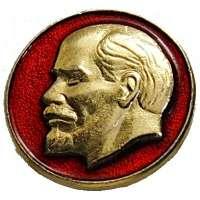 ODZNAK SSSR LENIN KULATÝ 18mm STARŠÍ PORTRÁT PLASTICKÝ ČERVENO-ZLATÝ